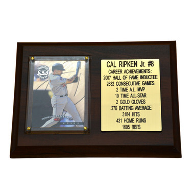 "Cal Ripken Jr. Baltimore Orioles 8"" x 6"" Baseball Card Deluxe Plaque"