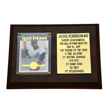 "Jackie Robinson Brooklyn Dodgers 8"" x 6"" Baseball Card Deluxe Plaque"