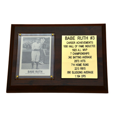 "Babe Ruth New York Yankees 8"" x 6"" Baseball Card Deluxe Plaque"