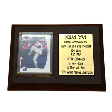 "Nolan Ryan Texas Rangers 8"" x 6"" Baseball Card Deluxe Plaque"