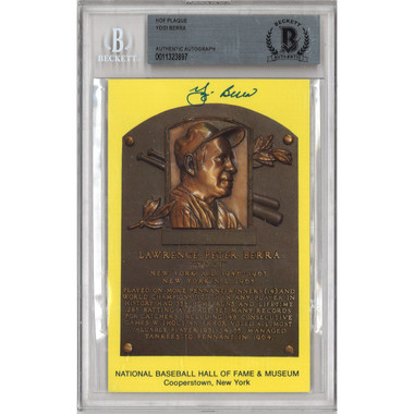 Yogi Berra Autographed Hall of Fame Plaque Postcard (Beckett-97)