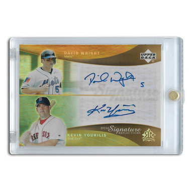 David Wright and Kevin Youkilis Autographed Card 2005 Upper Deck Dual Signature Reflections #DWKY