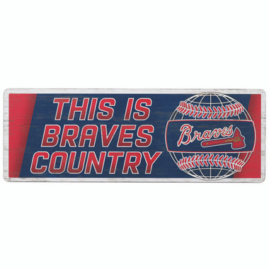 Open Road Atlanta Braves 10 x 28 Wood Cooperstown Collection Wall Art