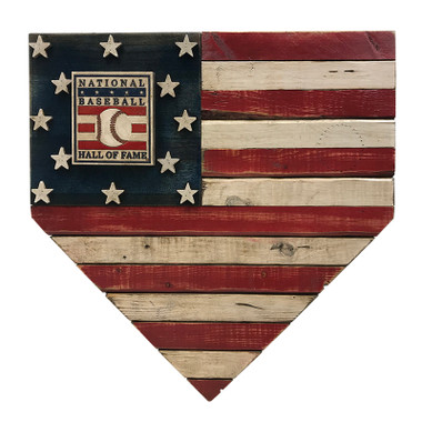 Vintage Distressed Wood 17 Inch Home Plate Flag with Baseball Hall of Fame Logo