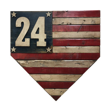 Vintage Distressed Wood 17 Inch Home Plate Flag with Custom Jersey Number