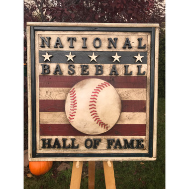 Vintage Distressed Wood 24 x 26 Baseball Hall of Fame Square Logo