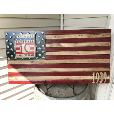 Vintage Distressed Wood 19  x 36 Baseball Hall of Fame American Flag