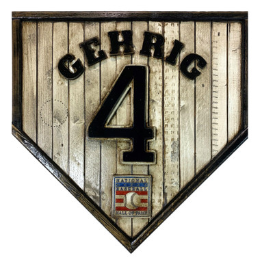 Lou Gehrig Hall of Fame Vintage Distressed Wood 17 Inch Legacy Home Plate Ltd Ed of 250