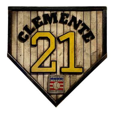 Roberto Clemente Hall of Fame Vintage Distressed Wood 17 Inch Legacy Home Plate Ltd Ed of 250