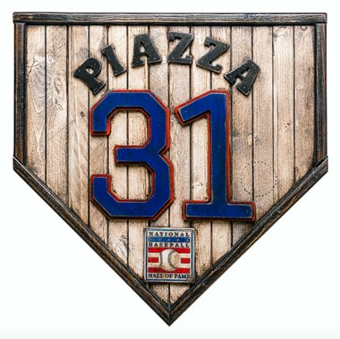 Mike Piazza Hall of Fame Vintage Distressed Wood 17 Inch Legacy Home Plate Ltd Ed of 250