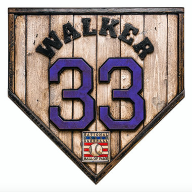 Larry Walker Hall of Fame Vintage Distressed Wood 17 inch Legacy Home Plate - Ltd Ed of 102 (Colorado)