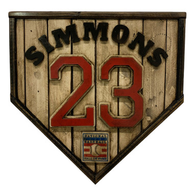 Ted Simmons Hall of Fame Vintage Distressed Wood 17 inch Legacy Home Plate - Ltd Ed of 102