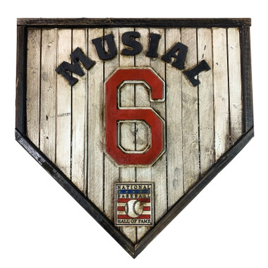 Stan Musial Hall of Fame Vintage Distressed Wood 17 inch Legacy Home Plate Ltd Ed of 250