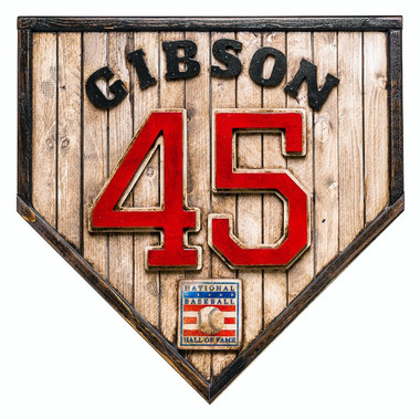 Bob Gibson Hall of Fame Vintage Distressed Wood 17 inch Legacy Home Plate Ltd Ed of 250
