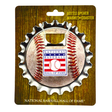 Baseball Hall of Fame 4 Inch Combination Bottle Opener Magnet and Coaster