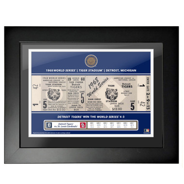 Detroit Tigers 1968 World Series Game 5 Framed 18 x 14 Ticket