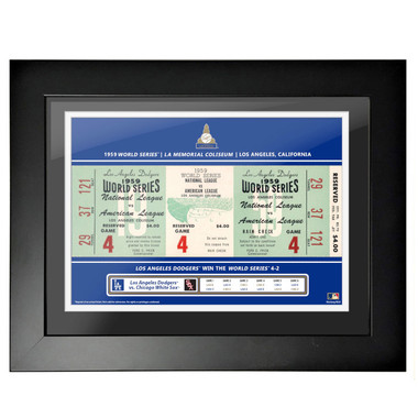 Los Angeles Dodgers 1959 World Series Framed 18 x 14 Ticket