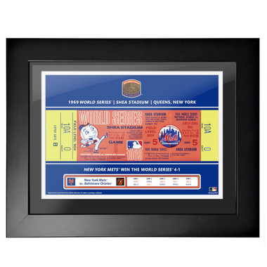 New York Mets 1969 World Series Framed 18 x 14 Ticket