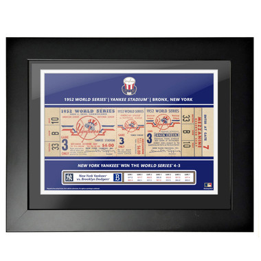 New York Yankees 1952 World Series Framed 18 x 14 Ticket