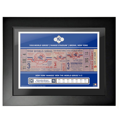 New York Yankees 1958 World Series Game 3 Framed 18 x 14 Ticket