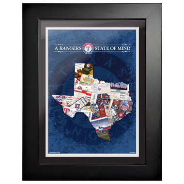 Texas Rangers State of Mind Framed 18 x 14 Ticket Collage Artwork