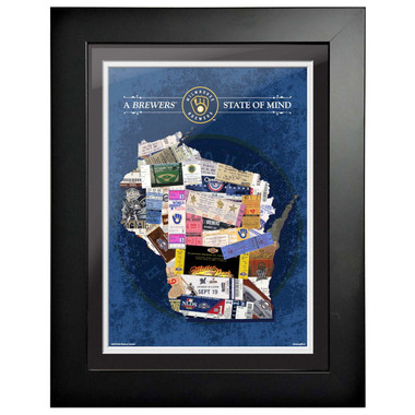 Milwaukee Brewers State of Mind Framed 18 x 15 Ticket Collage Artwork