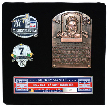 Mickey Mantle Hall of Fame Exclusive 3 Piece Pin Set with Plaque Bust Ltd Ed of 1,974