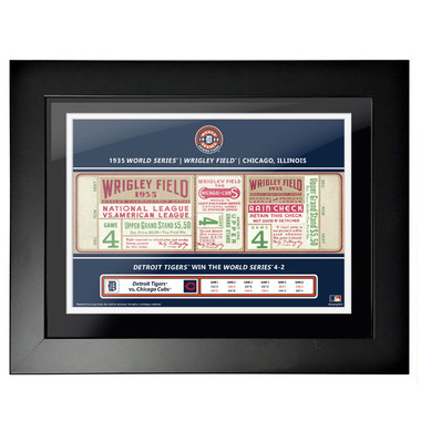 Detroit Tigers 1935 World Series Game 4 Framed 18 x 14 Ticket