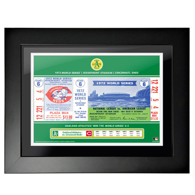 Oakland Athletics 1972 World Series Framed 18 x 14 Ticket