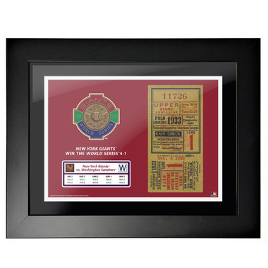 New York Giants 1933 World Series Framed 18 x 14 Ticket