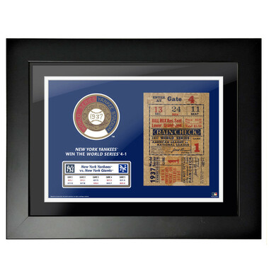 New York Yankees 1937 World Series Framed 18 x 14 Ticket
