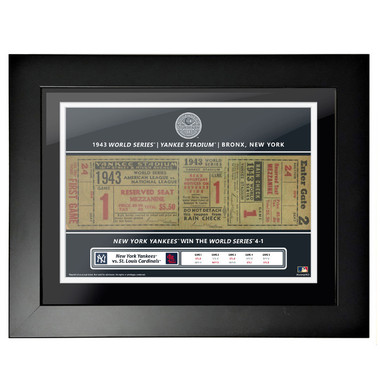 New York Yankees 1943 World Series Framed 18 x 14 Ticket