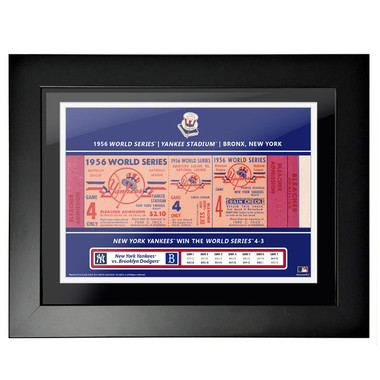 New York Yankees 1956 World Series Game 4 Framed 18 x 14 Ticket