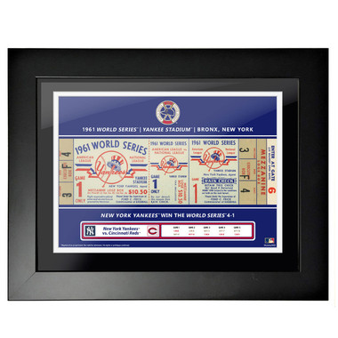 New York Yankees 1961 World Series Framed 18 x 14 Ticket