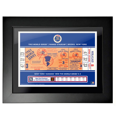 New York Yankees 1962 World Series Framed 18 x 14 Ticket