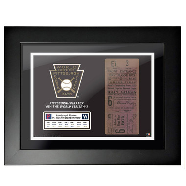 Pittsburgh Pirates 1925 World Series Framed 18 x 14 Ticket