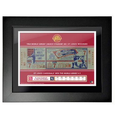 St. Louis Cardinals 1964 World Series Game 7 Framed 18 x 14 Ticket