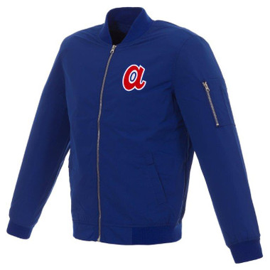 Men's JH Design Atlanta Braves Cooperstown Collection Royal Lightweight Nylon Bomber Jacket