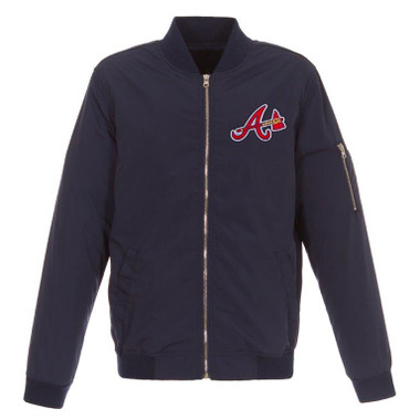 Men's JH Design Atlanta Braves Navy Lightweight Nylon Bomber Jacket