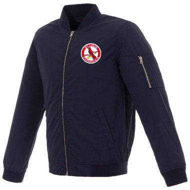 Men's JH Design St. Louis Cardinals Cooperstown Collection Navy Lightweight Nylon Bomber Jacket
