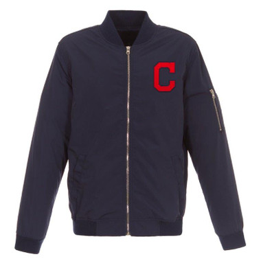 Men's JH Design Cleveland Indians Navy Lightweight Nylon Bomber Jacket
