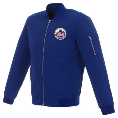 Men's JH Design New York Mets Cooperstown Collection Royal Lightweight Nylon Bomber Jacket