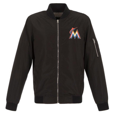 Men's JH Design Miami Marlins Black Lightweight Nylon Bomber Jacket