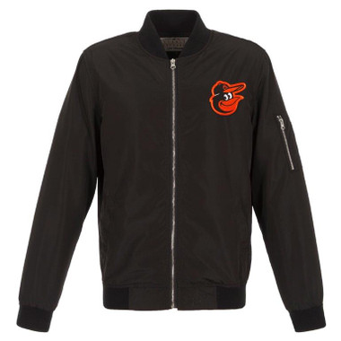 Men's JH Design Baltimore Orioles Black Lightweight Nylon Bomber Jacket