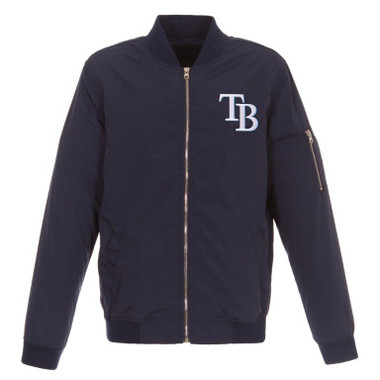 Men's JH Design Tampa Bay Rays Navy Lightweight Nylon Bomber Jacket