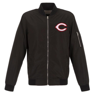 Men's JH Design Cincinnati Reds Black Lightweight Nylon Bomber Jacket