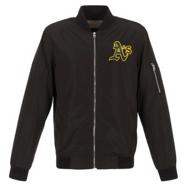 Men's JH Design Oakland Athletics Black Lightweight Nylon Bomber Jacket