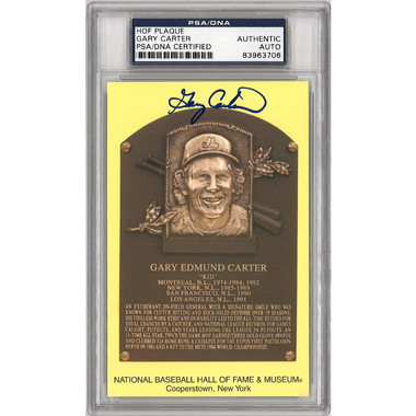Gary Carter Autographed Hall of Fame Plaque Postcard (PSA-06)