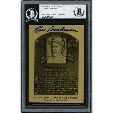 Lou Boudreau Autographed Metallic Hall of Fame Plaque Card (Beckett-00)