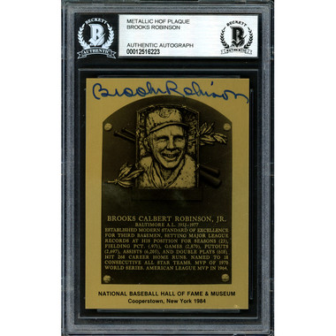 Brooks Robinson Autographed Metallic Hall of Fame Plaque Card (Beckett-23)